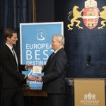 Budapest Mayor István Tarlós received the European Best Destination 2019 Award, granted to Budapest earlier this year, from Maximilien Lejeune, head of the European Best Destination (EBD) agency.